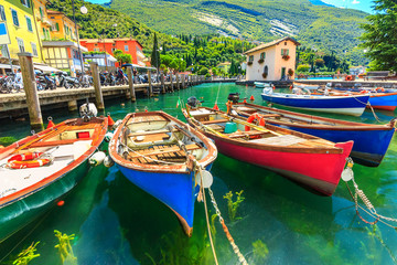 Colorful boats on the lake,Garda lake,Torbole,Italy,Europe