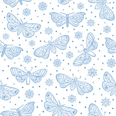 Fluffy butterfly moths, white seamless pattern