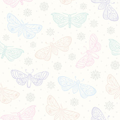 Fluffy butterfly moths, pastel seamless pattern