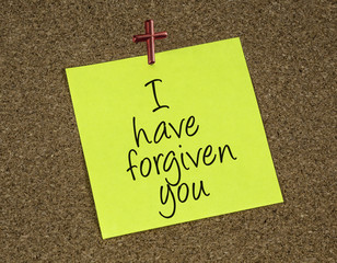a reminder note with a statement that Jesus forgives