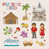Vector Puerto Rico Doodle Art for Travel and Tourism poster