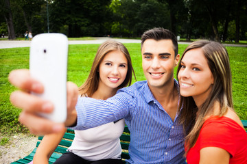 Friends taking a selfie portrait