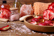 Spa concept with roses, pink salt and candles that float in wate - 75935987
