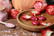 Spa concept with roses, pink salt and candles that float in wate - 75936182