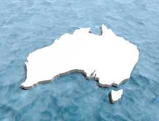 australia 3d map washed by blue ocean waters
