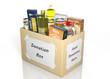 Leinwanddruck Bild - Carton donation box full with products isolated on white