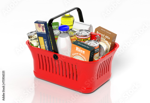 Tuinposter Boodschappen Shopping hand basket full with products isolated on white