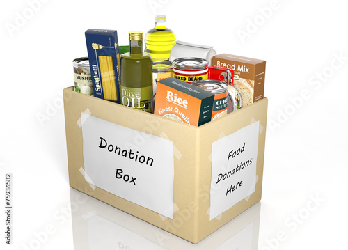 Leinwandbild Motiv Carton donation box full with products isolated on white