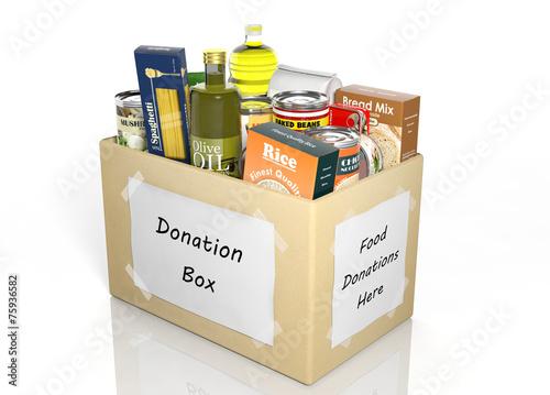 Leinwanddruck Bild Carton donation box full with products isolated on white