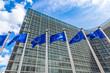 Leinwandbild Motiv European flags  in Brussels