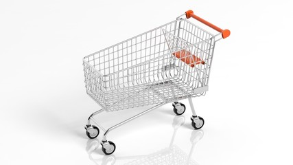 Empty supermarket shopping cart isolated on white background