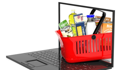 Shopping hand basket full with products on laptop, isolated