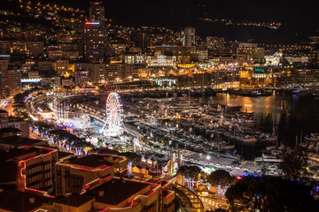Monte Carlo skyline at night, French Riviera