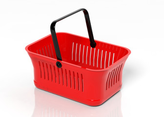 Empty shopping hand basket isolated on white background
