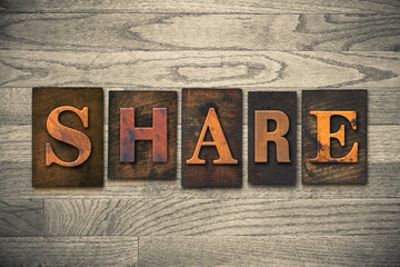 Share Concept Wooden Letterpress Type