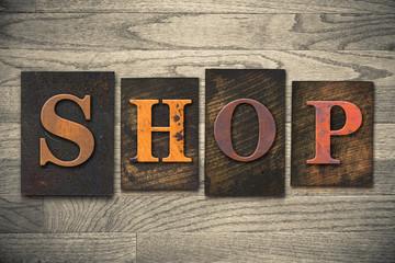 Shop Concept Wooden Letterpress Type