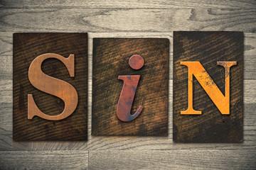Sin Concept Wooden Letterpress Type