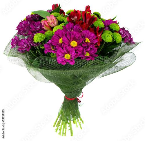 Foto op Canvas Tulp Bouquet of flowers in green package