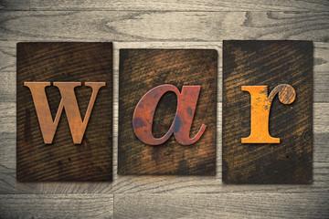 War Concept Wooden Letterpress Type