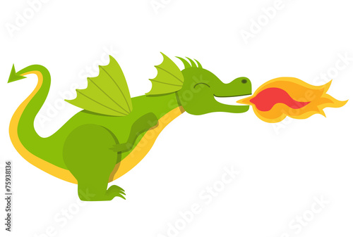 Cute dragon with fire - 75938136