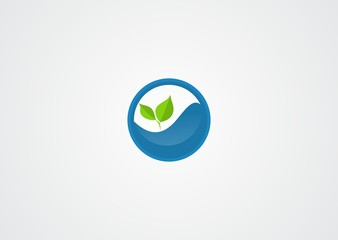 green leaves and water logo vector