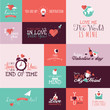 Set of flat design Valentines day signs