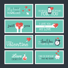 Modern flat design Valentines day greeting cards and banners