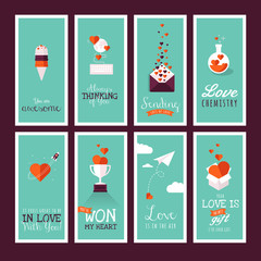 Set of modern flat design Valentines day greeting cards