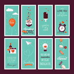Set of flat design Valentines day greeting cards