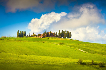 Scenic Tuscany landscape with rolling hills and valleys, Val d'O