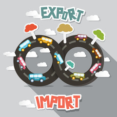 Export Import - Vector  Cars on Endless Road