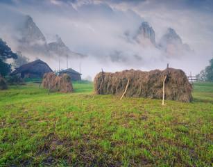 Haymaking in mountain village