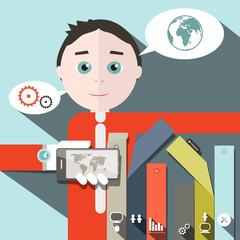 Businessman Vector and Social Media - Infographics Illustration