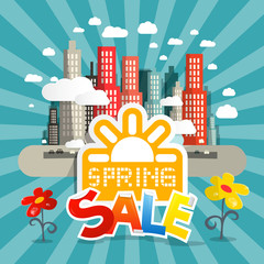 Spring Sale Vector Illustration with City and Flowers