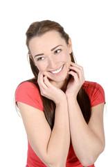 fröhliche junge Frau, Studio
