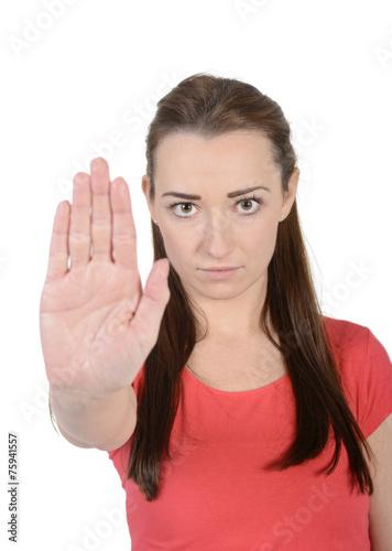 Leinwanddruck Bild Frau zeigt stopp mit einer Hand,  Studio