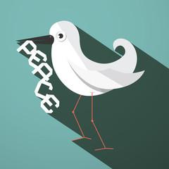 Peace Dove Retro Flat Design Vector Illustration