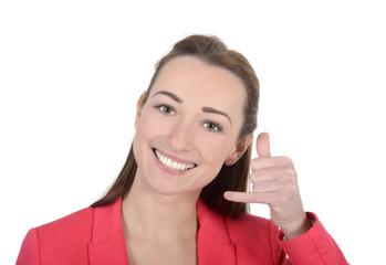 Geschäftsfrau zeigt Telefon-Zeichen, Studio