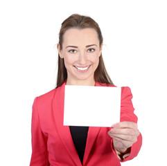 Geschäftsfrau zeigt Visitenkarte, Studio
