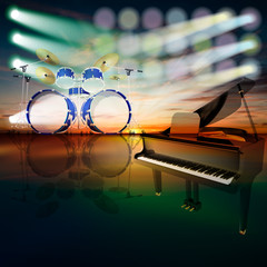 abstract jazz background with piano on music stage
