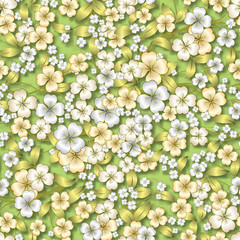 abstract white floral ornament on green