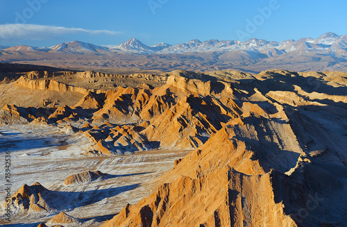 Moon valley in Atacama desert at a dusk