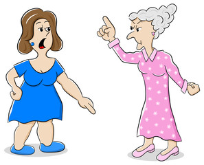 zwei Frauen sind verschiedener Meinung