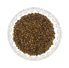 Cardamon Seeds In A Glass Bowl Top View