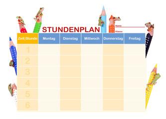 Stundenplan mit Rotaugenlaubfröschen