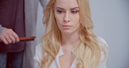 Blond Sexy Woman In Hairdresser