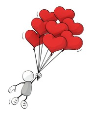 little sketchy man flying with bunch of heart-shaped balloons