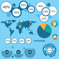 World Map and Information Graphics. Percentage
