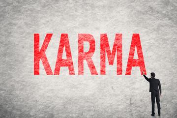 text on wall, Karma