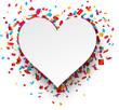 Paper heart love confetti sign.